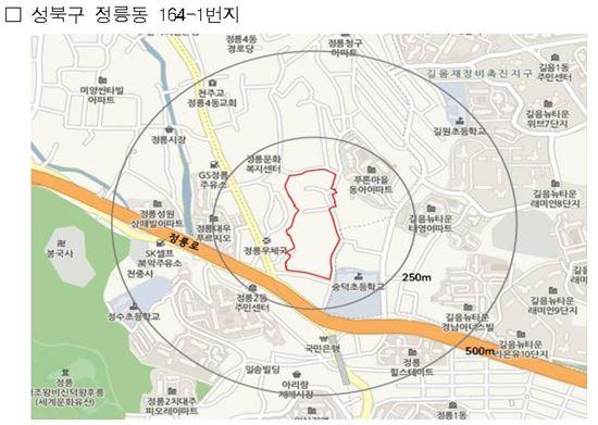 성북구 정릉동 164-1 일대가 정비구역에서 해제됐다.