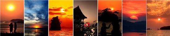 아품속에 지는 추억...강화 동막, 화성 궁평, 안면도 꽃지, 서천 동백섬, 부안 솔섬, 진도 세방낙조, 제주 차귀도(사진 왼쪽부터)