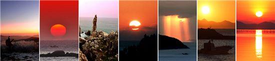 어둠 뚫고 솟는 희망...강원 태백 천제단, 강원 고성, 동해 추암, 울산 대왕암, 경남 남해, 전남 장흥, 해남 해뜰마을(사진 왼쪽부터)