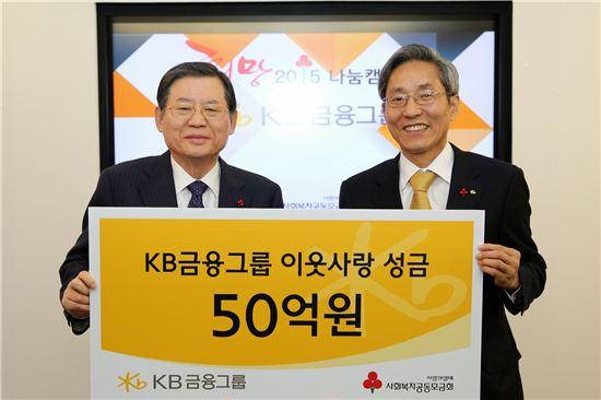 허동수 사회복지공동모금회 회장(왼쪽)과 윤종규 KB금융지주 회장