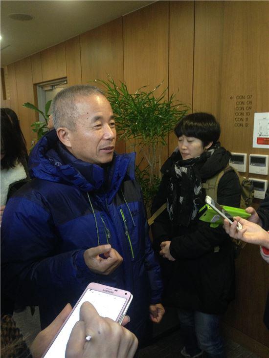 18일 삼성전자 직업병 보상 협상에 참석한 황상기 반올림 대표.