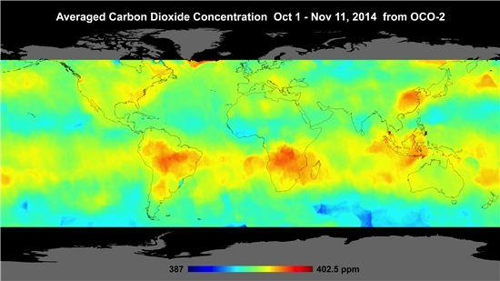▲붉게 보일수록 이산화탄소 농도가 높은 지역이다.[사진제공=NASA]
