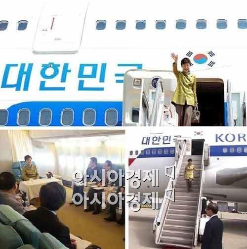 박근혜 대통령이 사용중인 대통령 전용기인 공군 1호기