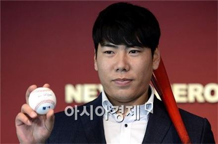 [포토]강정호, '메이저리그 진출 도전합니다'