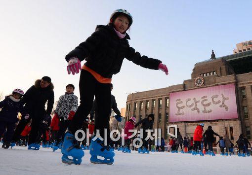 [포토]추운 날씨에도 즐거운 스케이트