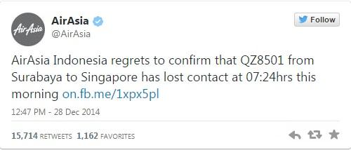 항공기 실종 사실을 발교한 에어아시아 트위터