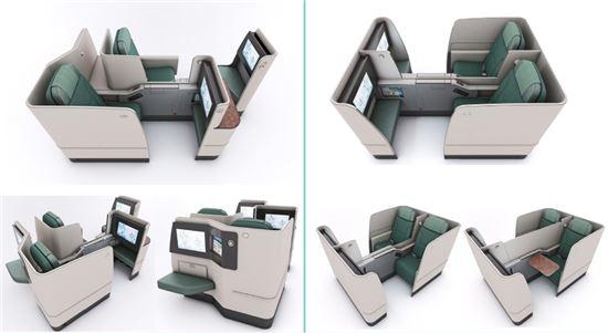 대한항공이 신규 도입하는 비즈니스석. 사진 외쪽은 창가석에 설치되는 좌석으로 좌석당 이동통로를 확보하고 좌석내 발걸이 받침대를 설치한 것이 특징적으로 보인다. 사진 오른쪽은 통로석에 설치된 좌석의 모습.