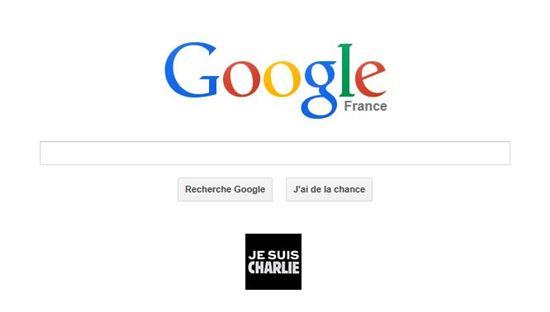 ▲구글프랑스 메인 화면에 '내가 샤를리다(Je suis Charile)'라는 배너가 게재돼 있다.
