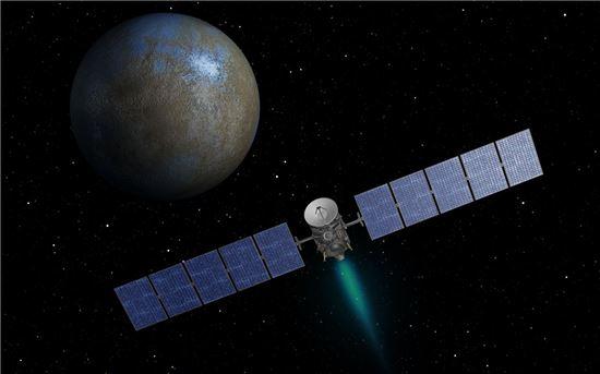 ▲왜소행성 '세레스'를 탐험하고 있는 돈 탐사선.[사진제공=NASA]