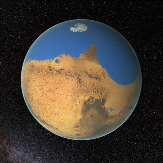 ▲화성은 한때 대성양보다 더 많음 물을 간직하고 있었다. 지금은 그중 87%의 물리 우주로 증발했다.[사진제공=NASA/GSFC]