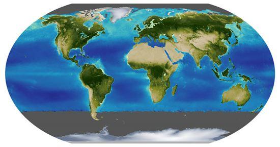 ▲'데이터' 조의 지구. 빙하,초목, 바다에 대한 자료를 확인할 수 있다.[사진제공=NASA]