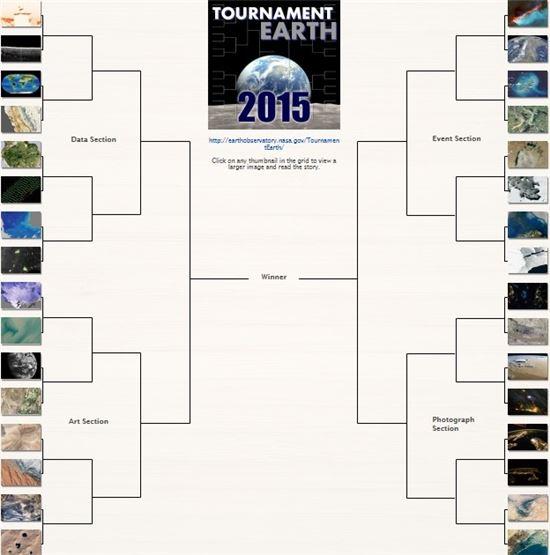▲이번 대회에 출전하는 32장의 지구 사진.[사진제공=NASA]