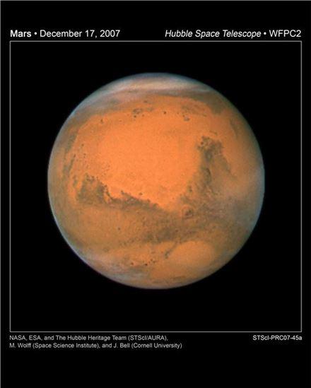 ▲'붉은 행성'인 화성. 2030년대 인류가 도착할 곳이다.[사진제공=NASA]