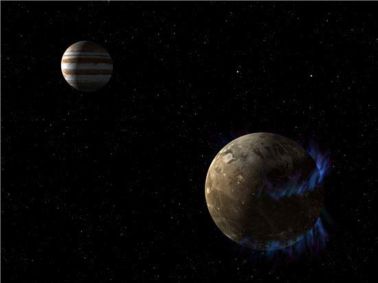 ▲목성의 가장 큰 위성인 가니메데에서 지구에 있는 물보다 더 많은 소금물이 있을 것으로 분석됐다.[사진제공= NASA]