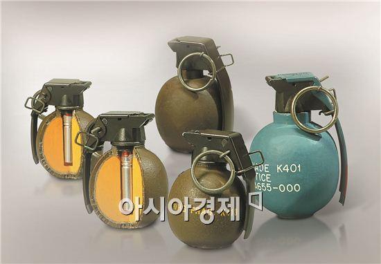 (주)한화에서 생산하고 있는 수류탄은 대인 살상용 K413수류탄. K400세열수류탄 등이다.