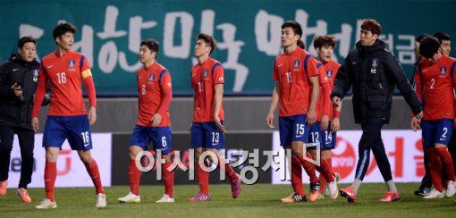 [포토]1-1 무승부가 아쉬운 축구대표팀
