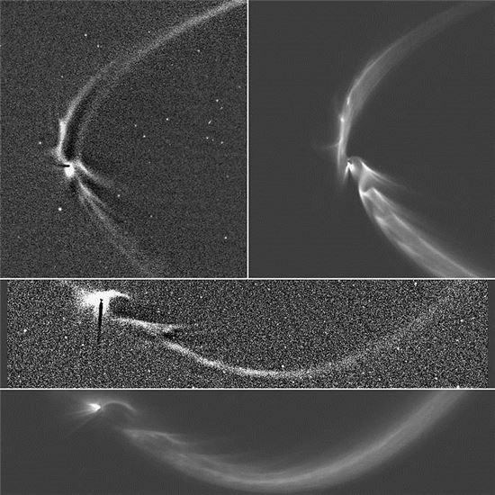 ▲엔켈라두스에서 뿜어져 나오는 덩굴손 구조는 토성 고리에까지 미치는 것으로 분석됐다.[사진제공=NASA]