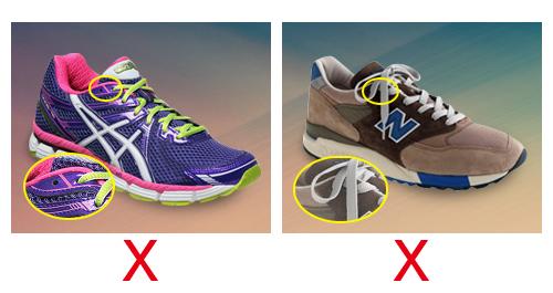 왼쪽 신발은 마지막 구멍이 꿰이지 않았다. 오른쪽에서는 마지막 구멍도 앞 구멍처럼 뀄다. 둘 다 끝 구멍이 제대로 활용되지 않았다.