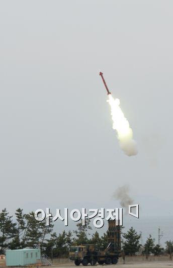 '철매-Ⅱ'의 기본형은 중고도(10~15㎞)를 비행하는 적의 항공기를 요격하는 지대공유도무기이다. (사진제공=국방과학연구소)