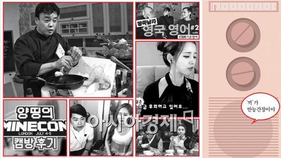 왼쪽 위 사진부터 시계방향으로 MBC 마이리틀텔레비전의 백종원, 김이브의 일상방송, 대도서관의 먹방, 최근의 인터뷰 방송, 양띵의 게임방송.