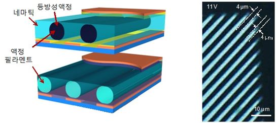 ▲국내 연구팀이 마이크로미터 크기의 액정 방울을 맘대로 조절할 수 있는 기술을 내놓았다.[사진제공=한국연구재단]