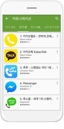 카카오헬로 앱 구글플레이 순위