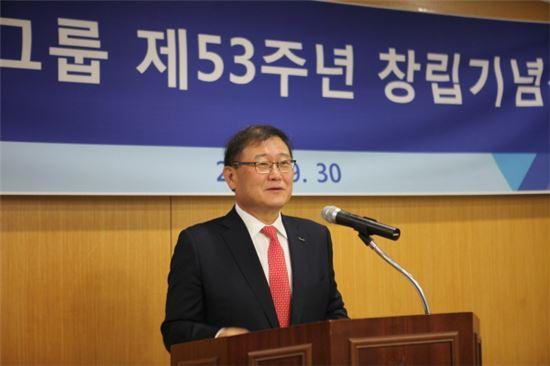 정몽원 한라그룹 회장이 그룹 창립 53주년 기념사를 하고 있다.<사진=한라그룹>