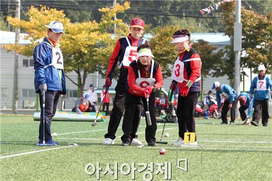 광주 동구는 20일 용산체육공원에서 한태석 동구게이트볼연합회장을 비롯한 24개팀 150여명의 게이트볼 선수들이 참여한 가운데 '동구청장배·연합회장기 게이트볼 대회'를 개최했다.