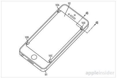 액정을 보호하는 탭은 아이폰의 모서리 네 곳에 있다. 아이폰이 떨어질 때 작은 홈에서 보호기가 튀어나왔다가 위험 상황이 끝나면 다시 원래자리로 되돌아간다.(사진 출처 : 애플인사이더)