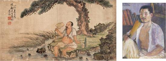 경매에 출품되는 춘곡 고희동의 '탁족도'(1939)와 국립현대미술관에 소장된 춘곡의 '부채를 든 자화상'(1915)