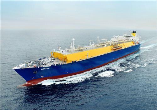 ▲현대중공업이 인도한 15만5천 입방미터급(㎥) 멤브레인형 LNG선의 시운전 모습(기사내용과 무관)