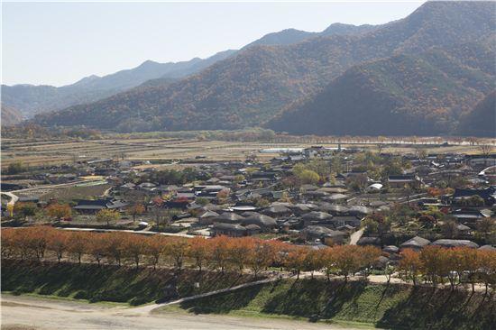 조선시대 8대 명당으로 꼽히는 하회마을. 낙동강 물줄기가 마을을 S자로 감싸며 돌아간다. 그래서 태어난 지명이 하회(河回).