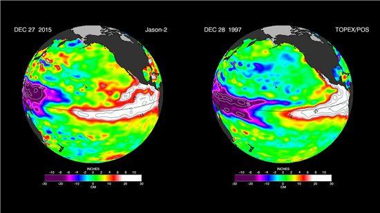 ▲2015년 엘니뇨(왼쪽)가 1997년과 비교했을 때 수그러들 기미를 보이지 않고 있다.[사진제공=NASA]