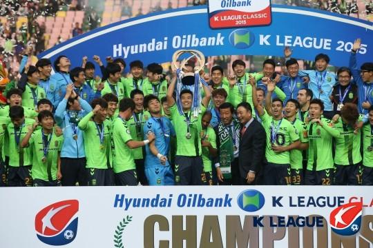 2015년 K리그 우승을 차지한 전북 현대, 사진=한국프로축구연맹 제공