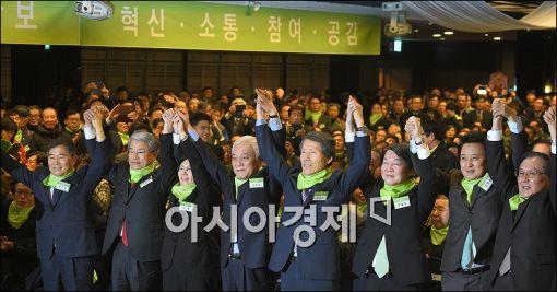 [포토]손 맞잡은 '국민의 당'