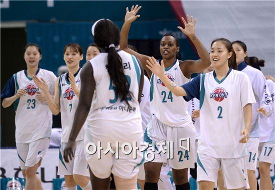 승리를 자축하는 KEB하나은행 선수단[사진=김현민 기자]