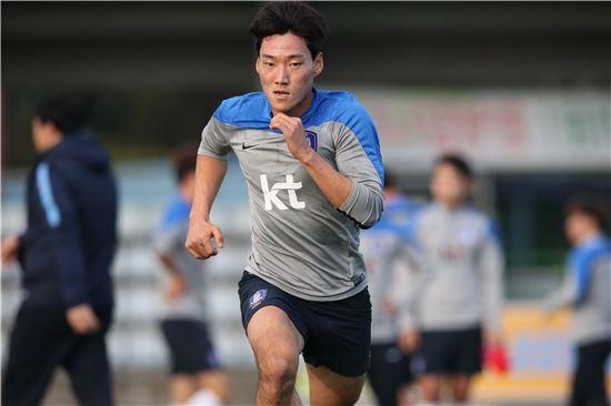 심상민이 지난해 12월 8일 제주도 서귀포시에서 한 전지훈련에서 몸을 풀고 있다. 사진=대한축구협회 제공