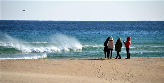 겨울 고성 화진포 해변의 풍경