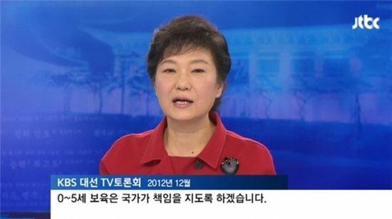 박근혜 대통령이 2012년 12월 대선을 앞두고 진행된 TV토론회에서 유아 교육에 대한 의지를 밝히고 있다. (사진 : jtbc 방송화면 캡처)