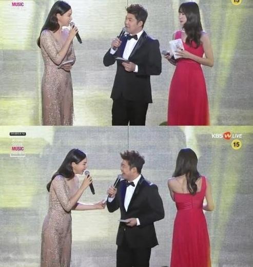 이하늬, 전현무, 하니. 사진=KBS W '제 25회 하이원 서울가요대상' 방송캡처