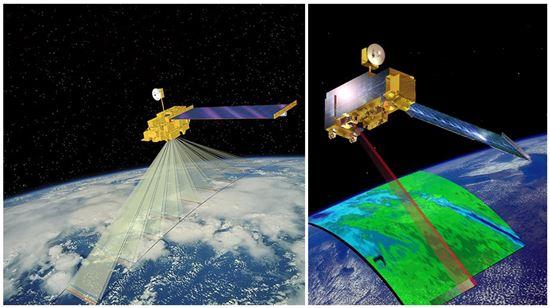 ▲테라 위성은 에어로졸의 분포를 파악한다.[사진제공=NASA]