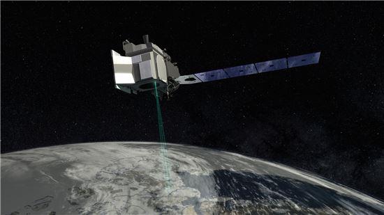 ▲아이스샛 위성은 대륙 빙하의 변화를 관찰한다.[사진제공=NASA]