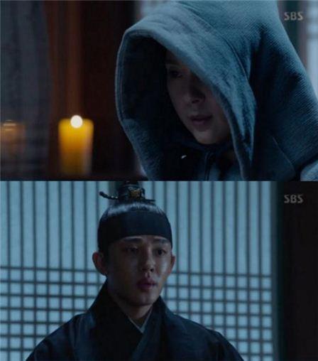 전미선, 유아인. 사진=SBS '육룡이 나르샤' 방송캡처