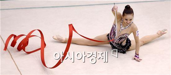 손연재가 국가대표 선발전에서 1위에 올라 '2016 리우데자네이루 올림픽' 출전권에 한 걸음 다가섰다.[사진=김현민 기자]