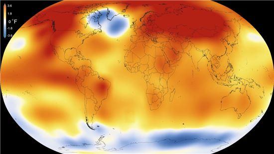 ▲2015년이 135년 기후관측이래 가장 뜨거웠던 해로 기록됐다.[사진제공=Scientific Visualization Studio/Goddard Space Flight Center]