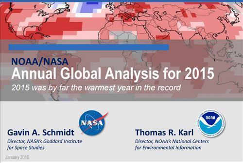 미국 국립해양대기청과 국립항공우주국의 2015년 지구 온도 기후 조건 분석. 사진=NASA 제공