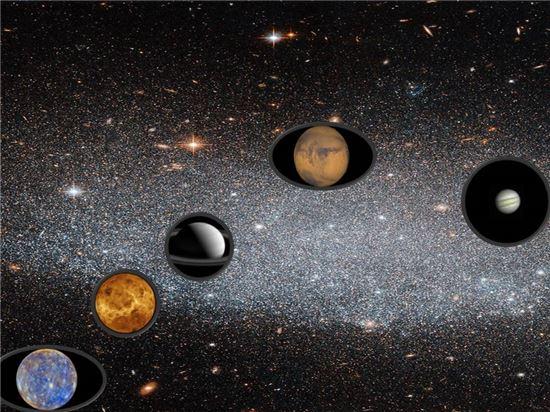 ▲수성, 금성, 토성, 화성, 목성이 나란히 하늘에 나타난다.[사진제공=NASA]