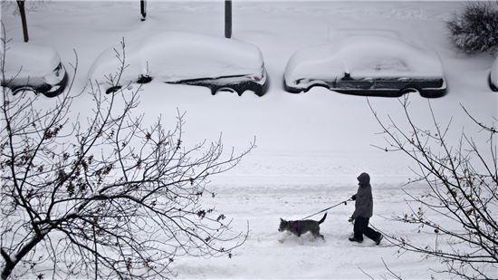 23일(현지시간) 미국 수도 워싱턴D.C에서 한 남성이 개와 함께 눈 덮인 거리를 걷고 있다.<출처 : 블룸버그>