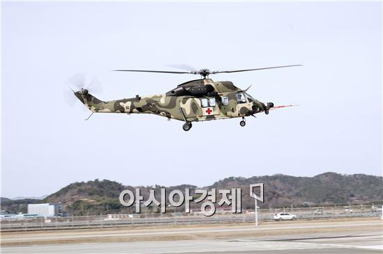 시험비행 조종사 2명과 기술자 1명이 탑승한 가운데 사천 KAI 본사에서 진행된 비행 시험은 방위사업청, 합동참모본부, 육군, 국군의무사령부 관계자 등 40여명이 참관했다.