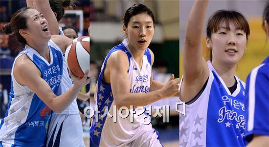 (사진 왼쪽부터) 우리은행 양지희, 임영희, 박혜진 [사진=김현민 기자]